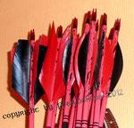Turnierpfeile rot/ schwarz  mit Cresting