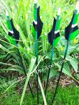 Übungspfeil - schwarz/grüner Schaft, gespleißte Federn
