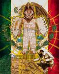 """""""Caballero Águila/Eagle Warrior"""" ©2017,  Acrylic on Canvas, Dimensions 60"""" w x 48"""" h"""
