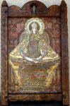 """Madonna Retablo ©2010, Acrylic on Wood, Dimensions 16 3/4"""" w x 23 1/2"""" h Framed by: Matt ©2015, Frame Dimensions 20"""" w x 30"""" h"""