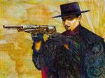"""Joaquin Murrieta: """"El Zorro"""" ©2013, Acrylic on Canvas, Dimensions 40"""" w x 36"""" h"""