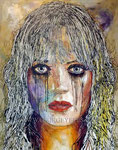 """""""GrindHouse"""", Portrait of Marley Shelton © 2006, Acrylic on Canvas, Private Collection"""