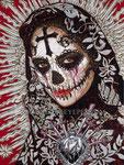 """The World, The Flesh, Y La Santa Muerte"", ©2014, Acrylic on Canvas, Dimensions 36"" w x 48"" h, Private Collection"