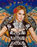 """Mariposa Estrella, Portrait of Jenni Rivera  ©2016, Acrylic on Canvas, Dimensions 48"""" w x 60"""" h, Private Collection"""