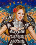 "Commission: Mariposa Estrella, Portrait of Jenni Rivera  ©2016, Acrylic on Canvas, Dimensions 48"" w x 60"" h, Private Collection"