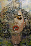 """""""Sin City 2: A Dame to Kill For"""", Portrait of Lady Gaga II © 2013, Acrylic on Canvas, Private Collection"""
