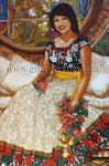 """Queña: Portrait of Virginia Eugenia Cárdenas"" ©2017,  Acrylic on Canvas, Dimensions 48"" w x 72"" h, Private Collection"