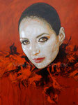 """""""Feather Boa"""", Portrait of Cindy Vela © 2013, Acrylic on Canvas, Dimensions 36"""" w x 48"""" h, Private Collection"""