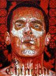 "Shotgun Messenger, Portrait of Josh Brolin ©2014, Acrylic on Canvas, Dimensions 18"" w x 24"" h"