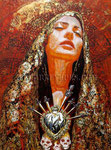 """""""Sacred Memories"""", Portrait of Cindy Vela ©2013, Acrylic on Canvas, Dimensions 36"""" w x 48"""" h, Private Collection"""