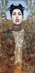 """Judith & Holofernes, Portrait of Lady Gaga © 2015, Gold, Copper, Silver Leaf & Acrylic on Wood, Dimensions 36"""" w x 72"""" h"""