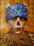 "Double-Barrel Shotgun Sugar Skull I ©2010, Acrylic on Canvas, Dimensions 30"" w x 40"" h, Private Collection"