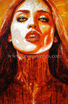 """From Dusk till Dawn"", Portrait of Eiza Gonzalez ©2014, Acrylic on Canvas, Dimensions 24"" w x 36"" h"