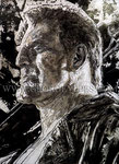 """""""Sin City 2: A Dame to Kill For"""", Portrait of Mickey Rourke © 2013, Acrylic on Canvas, Private Collection"""