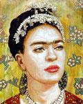 "Frida Amarillo Sunrise ©2015, Acrylic on Canvas, Dimensions 24"" w x 30"" h"