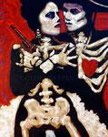 """La Pistola y El Corazon  ©2015, Acrylic on Canvas, Dimensions 48"""" w x 60"""" h, Private Collection"""