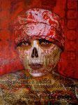"Double-Barrel Shotgun Sugar Skull II ©2010, Acrylic on Canvas, Dimensions 30"" w x 40"" h, Private Collection"