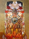 "Coatlicue en Vienna ©2015, Acrylic on Canvas, Dimensions 36"" w x 48"" h, Private Collection"