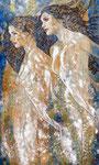 """Mermaids II ©2014,  Acrylic on Canvas, Dimensions 36"""" w x 60"""" h"""