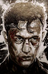 """""""Sin City 2: A Dame to Kill For"""", Portrait of Joseph Gordon-Levitt © 2013, Acrylic on Canvas, Private Collection"""