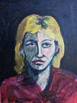 Linda Portrait #3, 1982. 18 x 24 in. Oil paint on MDF. #82PA016P