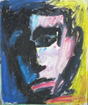 Auto Portrait, 1985. 14 x 17 in. Water caran d'ache on paper. #85D013P