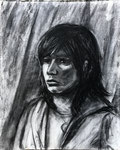 Portrait of BSU Student, 2004. 16 x 20 in. Charcoal on paper. #04D031P