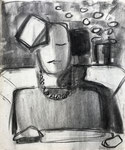 Kathleen 2, 1985. 14 x 17 in. Charcoal on paper. #85D020P