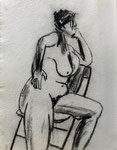 Figure, 2001. 12.75 x 16 in. Charcoal on paper. #01D008F