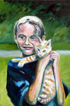 Austin and Tiger, 2010. 24 x 36 in. Acrylic paint on canvas. #10PA097P