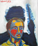 Self Portrait, 1982. 20 x 24 in. Oil paint on canvas. #82PA067P