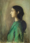 WOMAN IN GREEN - Oil on canvas - 65x46cm - 2020