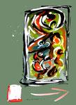 """""""Grenzen der Freiheit!"""" 12 Werkverzeichnis 1.921 / datiert Boddin, 13.02.99 / diverse Farben auf grünem Papier / Maße b 29,7 cm * h 42,0 cm"""