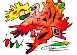 """""""Landschaftern XVI"""" Datiert 12.06.1993 Werkverzeichnis 356 Textilfarbe auf Aquarellpapier b 46,0 cm * h 34,0 cm"""