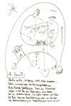 """""""Menschen im Zug"""" / WVZ 3.244 / Datiert im Zug bei Stendal am 10.12.00 um 15.10 Uhr Sprechbild mit Filzstiftzeichnung und Text auf Papier / Maße b 21,0 cm * h 29,7 cm"""