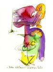 """""""Malen mit Lassi 4"""" / Werkverzeichnis 1.284 / datiert 10.02.97 / Filzstift und Aquarell auf Papier / Maße b 12,0 cm * h 18,0 cm"""