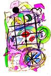 """""""Ein Vogel gegen den Himmel"""" - Sarajevo - Werkverzeichnis 528. Datiert Bad Bevensen, 09.04.95. Filzstift, Textilfarbe und Aquarell auf Papier. Größe b 20,0 cm * h 29,5 cm."""