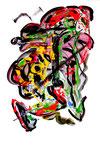 """""""Menschen"""" III / WVZ 917 / datiert 02.01.96 / Filzstift, Kreiden, Plusterfarben und Aquarell auf Papier / b 30,0 cm * h 40,0 cm"""