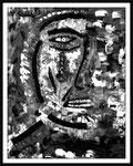 """""""o. T."""" (Selbstbildnis indianisch) Datiert 13.05.1987 - Werkverzeichnis 78 Schwarze und weiße Ölfarbe auf Leinwand auf Pappe b 39,0 cm x h 50,0 cm Verkauft an Birgit Zerjatke, Zwickau"""