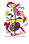 """""""Zwei Vögel gegen den Himmel"""" - Bihac - Werkverzeichnis 529. Datiert Bad Bevensen, 09.04.95. Filzstift, Textilfarbe und Aquarell auf Papier. Größe b 20,0 cm * h 29,5 cm."""