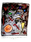 """""""Zeichen der Zeit - noch weiblich - noch leuchtend"""" / Werkverzeichnis 1.213. Datiert 28.12.96. Kohle und Aquarell auf Papier. Größe b 30,0 cm * h 40,0 cm."""