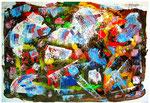"""""""Kirchgänger / Gefühle"""" Gestringen, in den Jahren 1990 / 1992, Werkverzeichnis 119, Binder-, Ölfarbe und Lack gespachtelt auf Papier (1990) überarbeitet 1992, b 70,0 cm x h 50,0 cm"""