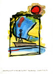 """""""Urlaubsfoto mit Seestück und blau / gelben Gesichtern!"""" / Werkverzeichnis 2.092 / datiert 26.06.99 / Aquarell, Tusche und Filzstift auf Papier / b 21,0 cm * h 29,7 cm"""