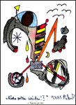 """""""Räder rollen wieder"""" I - Sarajevo - Werkverzeichnis 523. Datiert Bad Bevensen, 09.04.95. Filzstift, Goldlack, Textilfarbe und Aquarell auf Papier. Größe b 12,0 cm * h 16,0 cm."""