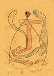 """Serie von 10 Arbeiten - 1 v. 10 - """"Versuche in Bergisch-Gladbach"""" 30.03.1994, Werkverzeichnis 399, diverse Farben und Bleistift auf Papier, b 21,0 cm * h 29,0 cm"""