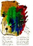 """""""Weg"""" / Torrox, 13.11.2008 / """"Sprechbild"""" mit Text als Original Grafik mit Tusche, Aquarellfarben und Text auf Papier / B 21,0 cm * H 29,7 cm / Werkverzeichnis 3.813"""