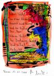 """""""Geh auf, kleines Licht"""" / Torrox, 13.11.2008 / """"Sprechbild"""" mit Text als Original Grafik mit Ölkreide, Tusche, Aquarell, Text auf Papier / B 21,0 cm * H 29,7 cm / Werkverzeichnis 3.814"""