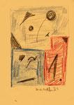 """Serie von 10 Arbeiten - 4 v. 10 - """"Versuche in Bergisch-Gladbach"""" 30.03.1994, Werkverzeichnis 402, diverse Farben und Bleistift auf Papier, b 21,0 cm * h 29,0 cm"""