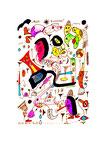 """""""Multi-Kulturell"""" 28/12/1995 / WVZ 885 Filzstift und diverse Farben auf Papier / b 18,0 cm * h 24,0 cm"""
