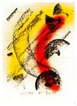 """Serie von 2 Arbeiten - 2 v. 2 - """"Schwarz-rot-goldenes Gefusel"""" 05 / 1994, Werkverzeichnis 413, Kohle und Lack auf Papier, b 21,0 cm * h 29,7 m"""